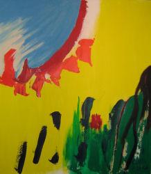 abstract acrylic painting Calgary - Melting Sunsm